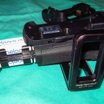 A view of the Nikon MB-D12 battery grip and AA holder showing fit.