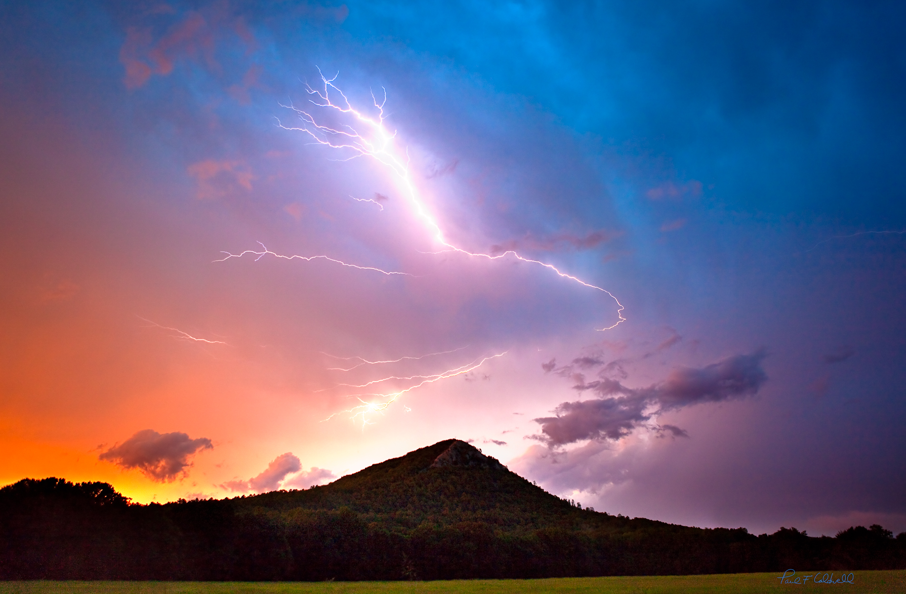 Lightening over Pinnacle Mountain