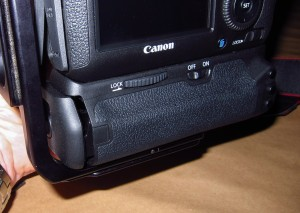 Back shot of RRS 5D MKII grip installed on Canon 6D