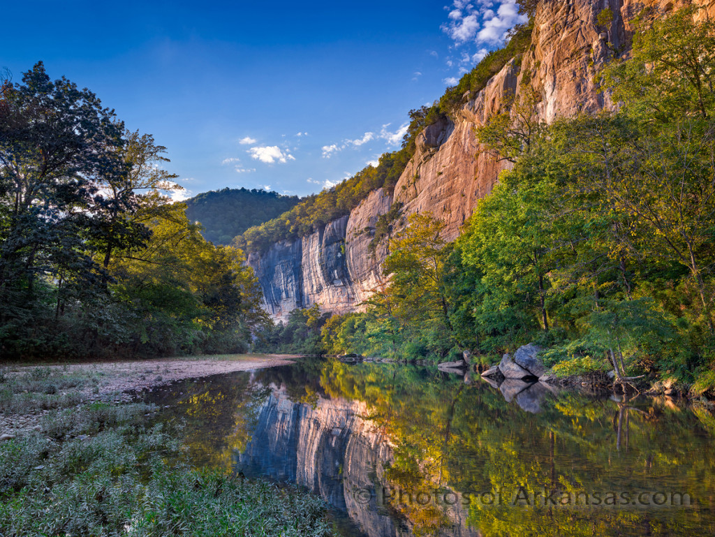 Late afternoon light creeping along Roark Bluff on the Buffalo National River