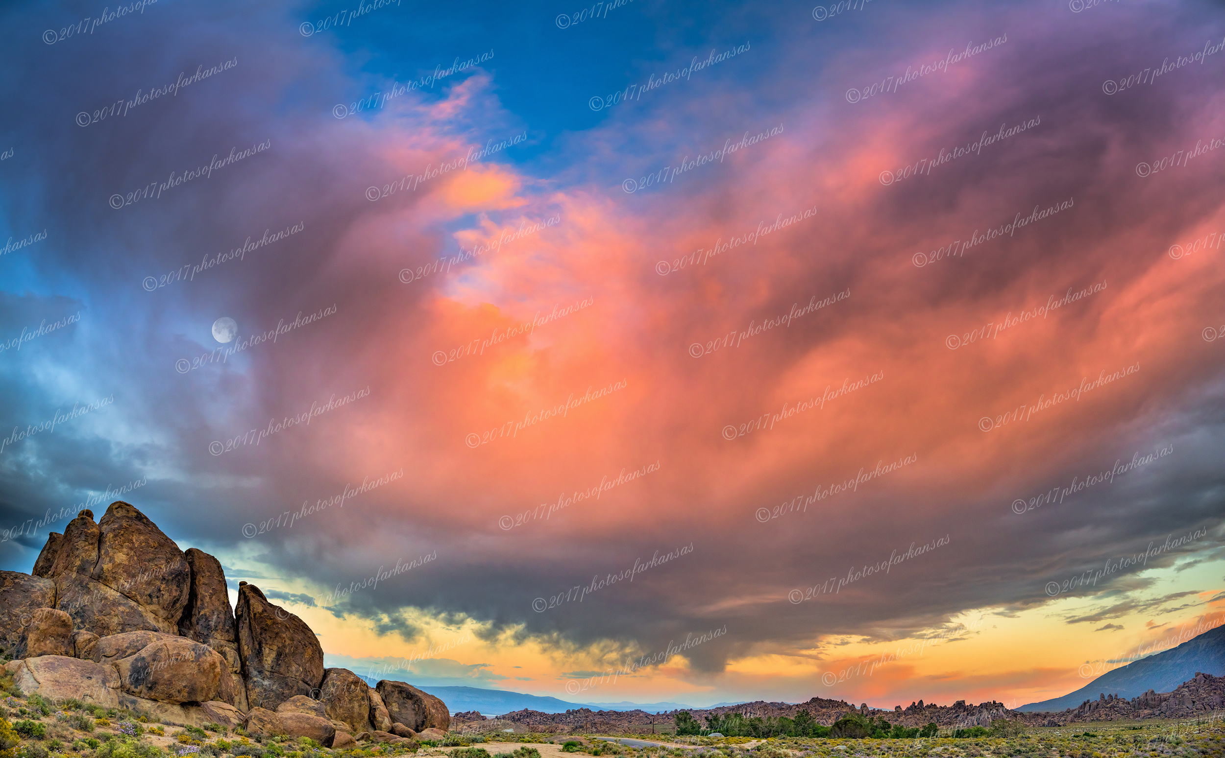 Sunset and moonrise in the Alabama Hills.